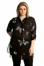New Womens Shirt Plus Size Ladies Top Butterfly Chiffon Print Collar Nouvelle