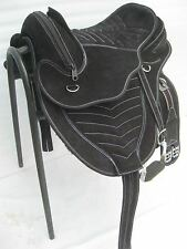 Suade leather treeless saddle black with white stiching +matching Girth+stirups