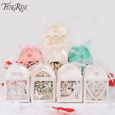 Fengrise 50Pcs Mr Mrs Wedding Candy Box Sweets Gift Favor Boxes With Ribbon Part