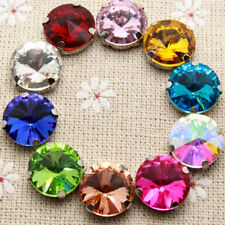 50Pcs 14Mm Crystal 16 Color Round Sew On Rhinestone With Claw Setting Silver Bac