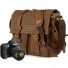 Canvas Genuine Leather Camera Bag Shoulder Bag DSLR Canon Nikon Sony Pentax Hot
