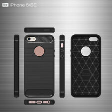 Shockproof New Carbon Fiber Armor Soft TPU Cover Case For iPhone 5 SE 6 7 Plus