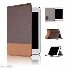 Qinda Luxury PU Leather Smart Flip Case cover for Apple iPad Air (Dark Brown)
