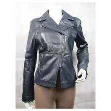 Ladies Blue Napa Leather Slim Tight Fitted Short Biker Rock Bike Jacket