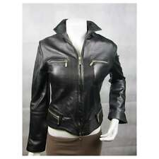 Ladies Black Napa Leather Slim Tight Fitted Short Biker Fashions Jacket Bike