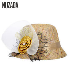 s Nuzada 2017 Women Lady Fedoras Top Hat Spring Summer Bowler Hats Cap Breathabl