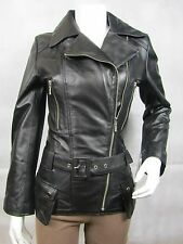 Ladies Black Napa Leather Stud Zip Slim Tight Fitted Biker Jacket Bike