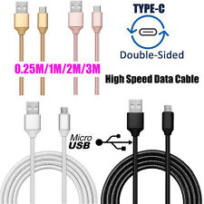 Up to 3M Rapidly Braided Micro USB/Type C Data Sync Charger Cable Lead Cord Lot