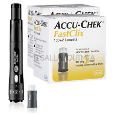 (2) NEW Accu-Chek Fastclix Boxes (204 lancets) & NEW Fast clix Lancing Device