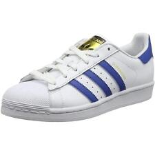 Adidas Originals Superstar Youth Blanc/Eqt Bleu En Cuir Formateurs Chaussures