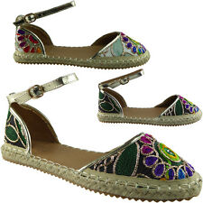 New Womens Ladies Ankle Strap Espadrilles Shoes Embroidered Sandals Flats Size