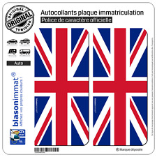 2 Stickers autocollant plaque immatriculation : Royaume-Uni - Drapeau Vertical