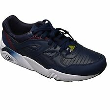 Puma R698 Leather Mens Trainers Trinomic Running Sneakers Sports Navy Shoes