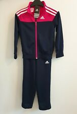adidas girls pink/navy zip up tracksuit. Jogging suit. Warm up suit. Age 5-6Y.