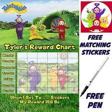 Reusable Teletubbies Behaviour Reward Chart free Stickers & pen, MAGNETIC