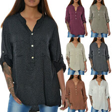 Damen Bluse Tunika Business Hemd Shirt Oberteil Longshirt Top 3/4 Arm Elegant N4