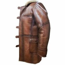 The Dark Knight Rises Tom Hardy Shearling Brown Leather Bane Coat