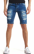 JEANS UOMO DIAMOND BLU DENIM STRAPPI BERMUDA PANTALONE CORTO SHORTS SLIM FIT