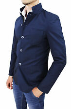 GIACCA UOMO SARTORIALE BLU SLIM FIT CASUAL ELEGANTE COLLO COREANA MADE IN ITALY