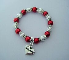 RED PEARL & SILVER CHARM BRACELET WITH CHOICE WEDDING / FAMILY HEART CHARM