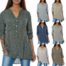 Damen Bluse Tunika Business Hemd Shirt Oberteil Longshirt Top 3/4 Arm Elegant N2