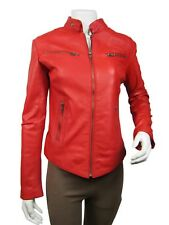 Ladies Red Napa Leather Slim Tight Fitted Short Biker Jacket Bike