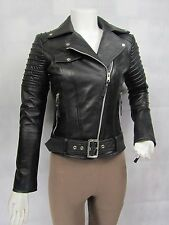 Ladies Black Napa Leather Slim Tight Fitted Short Biker Jacket Bike