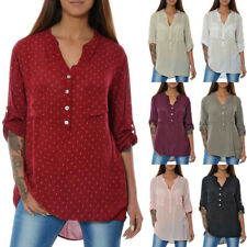 Damen Bluse Tunika Business Hemd Shirt Oberteil Longshirt Top 3/4 Arm Elegant