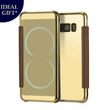 Metallic Gold Mirror Flip Leather Case Cover For Samsung Galaxy S8 / S8 Plus