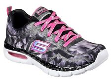 Skechers Girls Lace Air Appeal Glitztastic BKWP Trainers-100% Postive Reviews