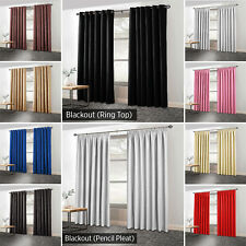 THERMAL BLACKOUT CURTAINS Eyelet Ring Top OR Pencil Pleat + 2 Free Tie backs