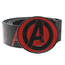 BNWT MENS MARVEL COMICS AVENGER ASSEMBLE PRINT BELT BLACK/RED/ FREEPOST