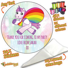 24 x Personalised Baby Unicorn DIY Sweet Cone Ribbon Party Bags Kit Stickers 690