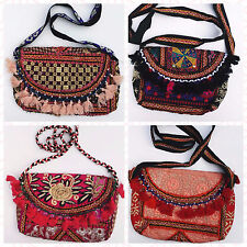 Fair Trade Bohemian Gypsy Floral Embroidered Beaded Shoulder Bag with Tassels