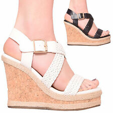 LADIES WOMENS SUMMER WEDGE PLATFORM SANDAL FASHION STYLE HOLIDAY SHOES SIZE 3-8