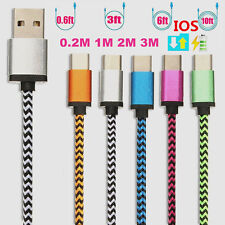 0.2M/1M/2M/3M Strong Fabric Braided USB 2A Fast Charger Charging Data Sync Cable