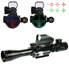 Military Rifle Scope3-9X40 & Red Green 4 Reticle Holographic Sight & Red Laser