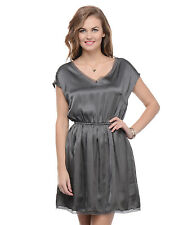 Moderno Women's Grey Satin Party Dress (MOD 133)