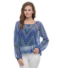 Moderno Women's Blue Printed Casual Top (MOD012)