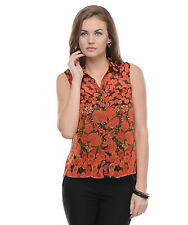 Moderno Women's Orange Printed Casual Shirt (MOD008)