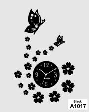 Butterfly Flowers Designer Wall Clock Stickers LCS-A1017 Multi color
