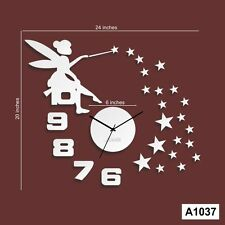 DIY Acrylic Angel Girl and Star Wall Clock Multi color -LaserCraftStore-A1037