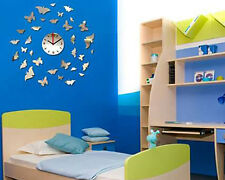 Acrylic 3D home decor butterfly DIY wall clock Multi color-LaserCraftStore-A1040