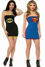 Womens Ladies Batgirl Sexy Supergirl Costume Dress Superhero Fancy Dress Lot