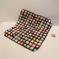 EXQUISITE MINIATURE HANDMADE BLANKET BLACK W/TONS OF COLOR  LARGE
