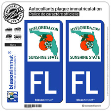 2 Stickers autocollant plaque immatriculation : FL Floride - MyFlorida
