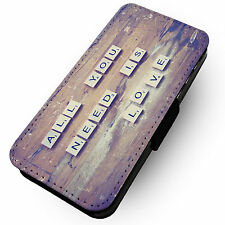 All You Need Is Love -Faux Leather Flip Phone Cover Case- Song Lyric Design #2