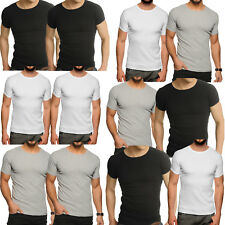 2 x Pack Raiken Crew Neck Ribbed Slim Fit T-Shirt  Mens Size