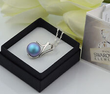 925 SILVER NECKLACE MADE WITH SWAROVSKI PEARL 12MM - IRIDESCENT LIGHT BLUE