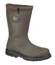 Mens GRAFTERS Brown CrazyHorse Leather Safety Rigger Boots Brown CrazyHorse Leat